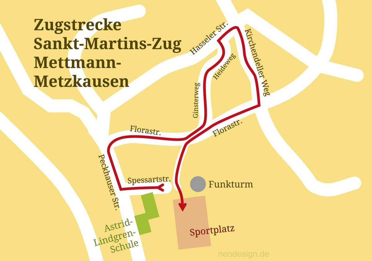 Streckenverlauf des Sankt Martin Zuges Metzkausen